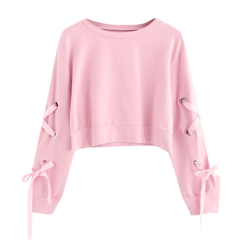 Harajuku colheita topo hoodies feminino outono moda cor sólida rendas até cropped moletom adolescente meninas casual solto pulôver blusa