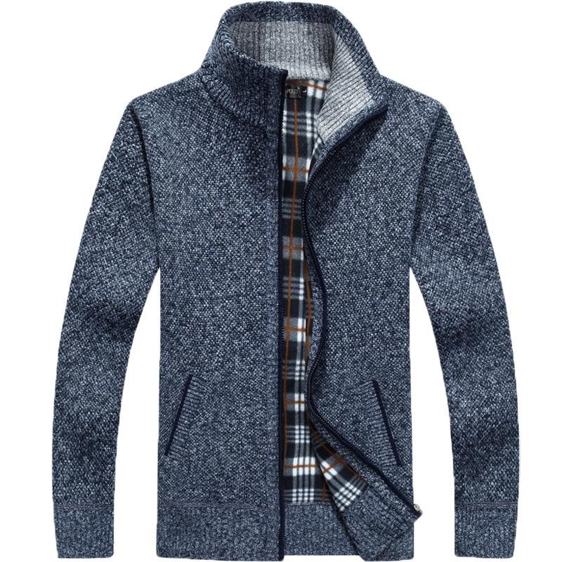 2020 Autumn Winter Men's Sweater Coat Faux Fur Wool Sweater Jackets Men Zipper Knitted Thick Coat Warm Casual Knitwear Cardigan