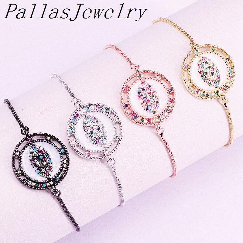 10 Uds. Conector de esmalte de forma redonda, Micro pavé arcoíris pulsera de encanto CZ, pulsera de Ojos de colores mezclados joyería de moda
