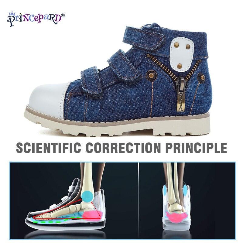 Princepard 2019 nuevos zapatos ortopédicos de lona para niños y niñas, zapatos ortopédicos, plantillas de cuero porcino y forro de malla, tamaño 20