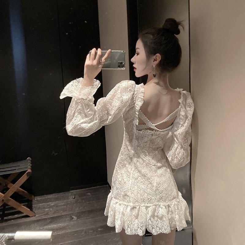 Moda feminina sexy sem costas vestido de renda manga longa cruz volta sexy v pescoço retro vestido de fadas vestidos babados hem chic mini vestido