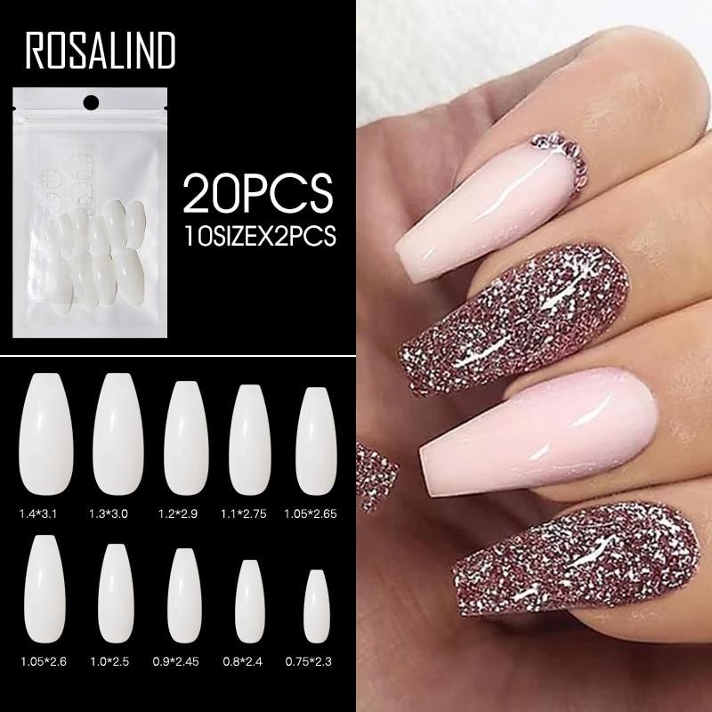 ROSALIND 120pcs False Nail Art Tips French Natural Transparent Press On Gel Nail Polish Full Cover Fake Nails Tips accesorios