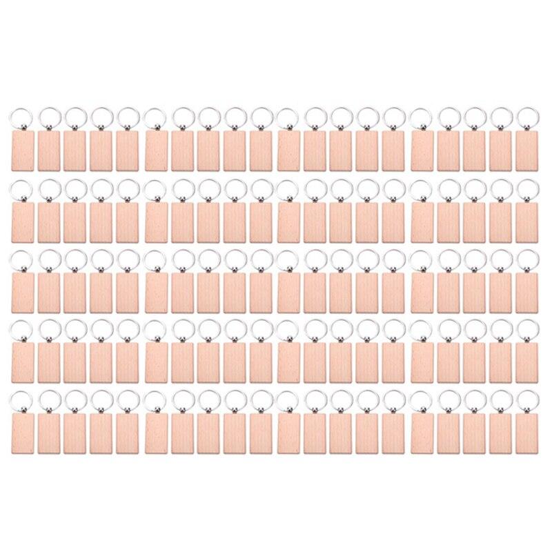 100 سلسلة مفاتيح خشبية فارغة مستطيلة النقش مفتاح معرف يمكن محفورة DIY بها بنفسك