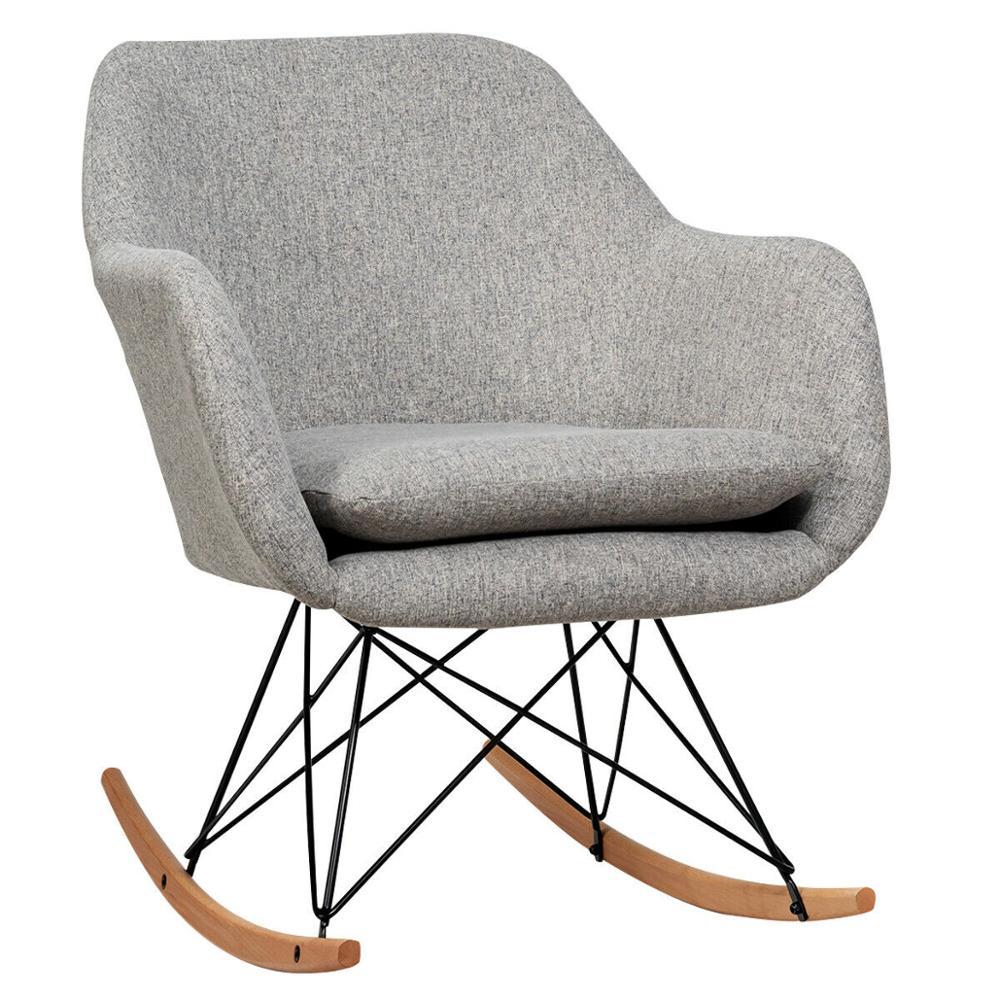 كرسي هزاز منجد رمادي HW66368GR ، كرسي بذراعين من القماش