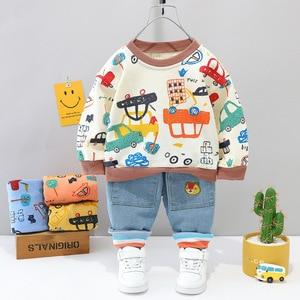 Autumn 1 2 3 4 Years Kids Clothing Cute Hedging Cartoon Car O-Neck Long Sleeve Top + Jeans 2 PCS/Set Toddler Boys
