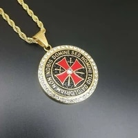 fashion vintage round cross religious hanging necklace for men bohemian crystal inlaid sliding pendant necklace accessories