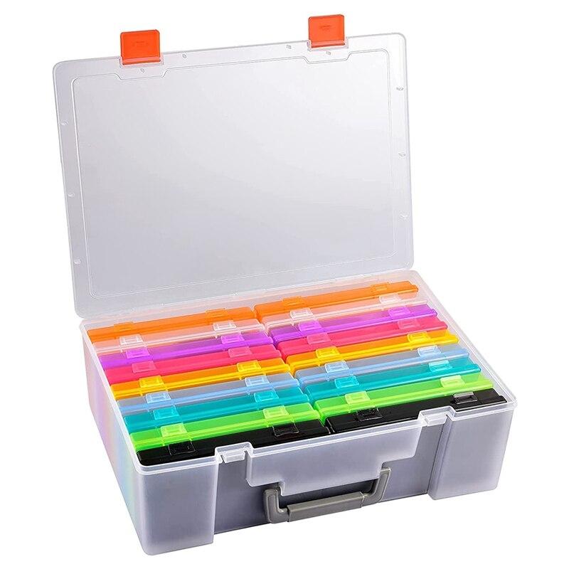 صندوق تخزين الصور 18 صناديق تنظيم مستقلة حوامل الصور للحرف اليدوية ، بطاقات قصاصات القصاصات و-يمكن أن تعقد 1,800 قطعة