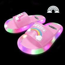 Children Luminous Slippers Soft PVC Shoes Comfortable Toddler Kid Baby Home Shoes Lovely Cartoon Smi