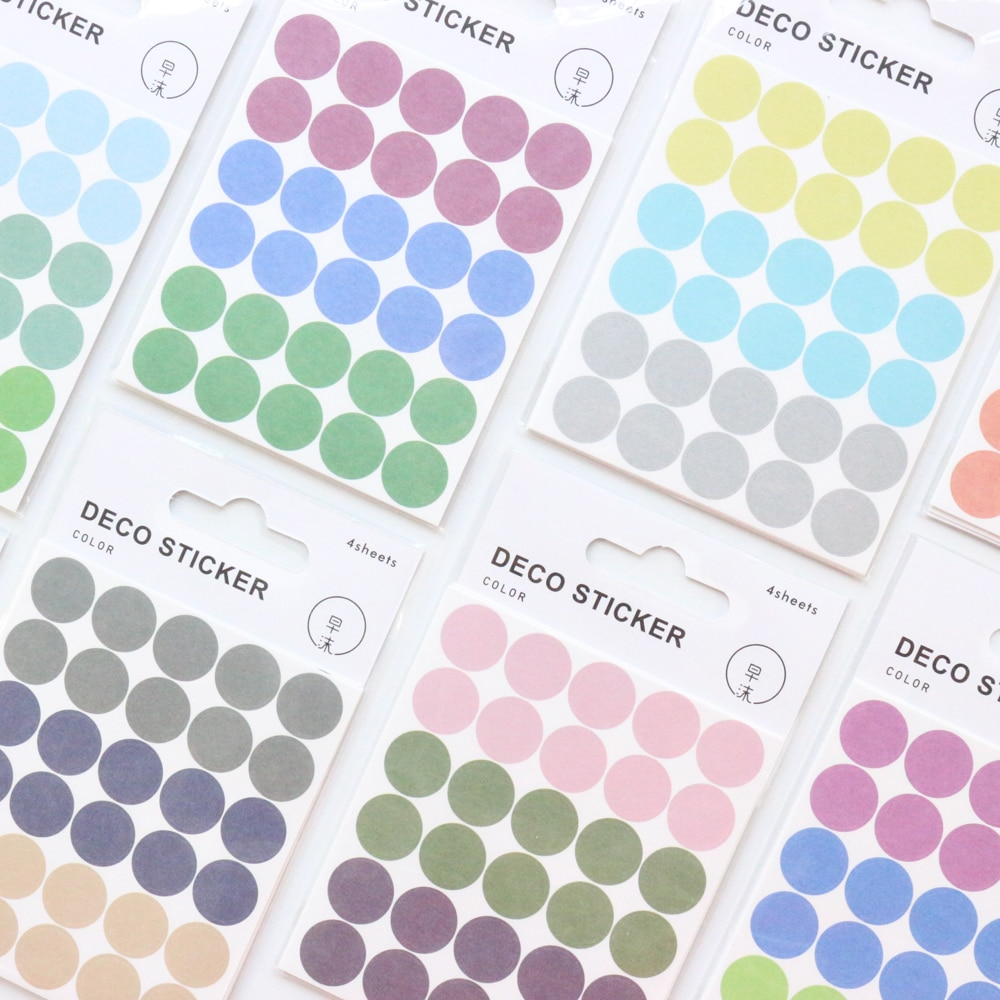 ¡Novedad! Diario Domikee bonito, decoración de diario DIY, pegatinas de puntos, diario de color arcoíris, etiqueta redonda, taza, suministros de papelería