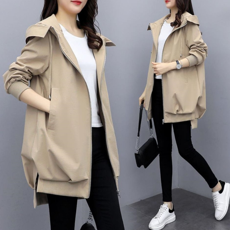Gabardina con capucha para Mujer, Abrigo holgado de talla grande para primavera...