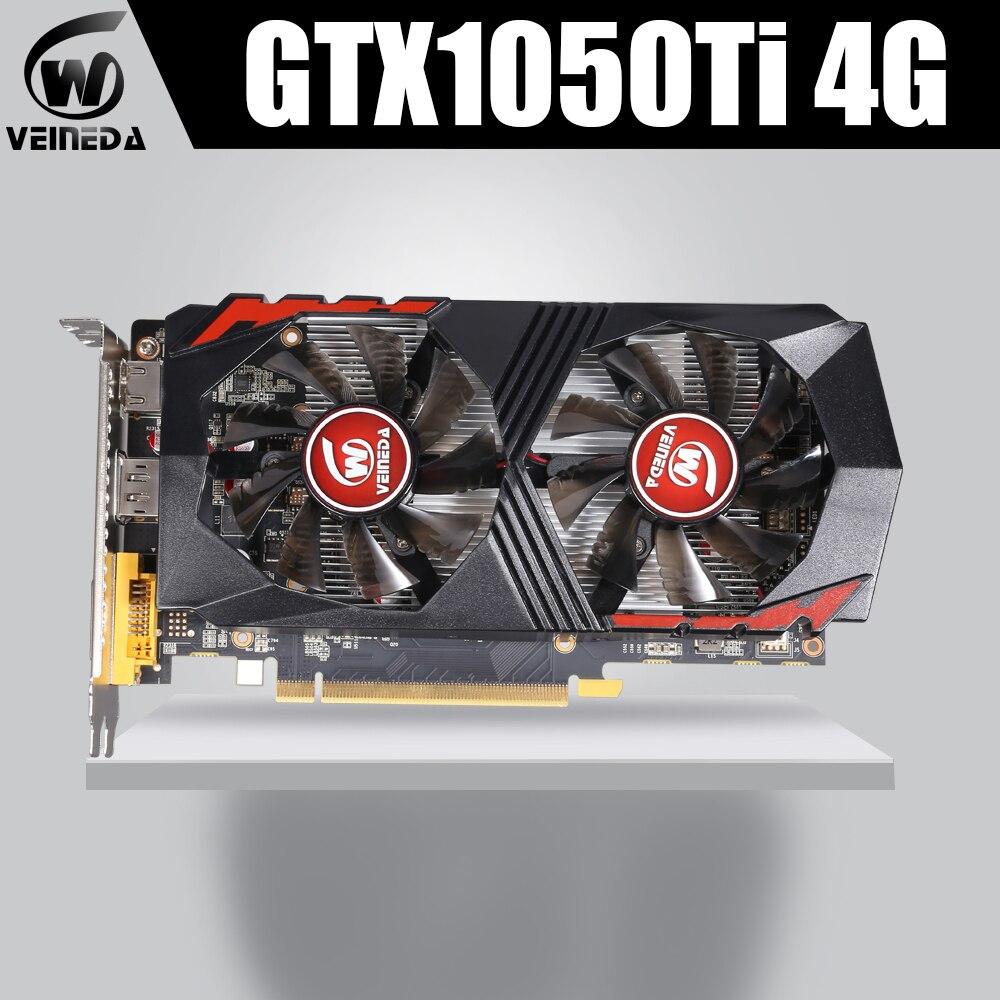 Tarjeta de vídeo GTX1050Ti para ordenador tarjeta gráfica PCI-E GTX1050Ti GPU 4GB 128Bit 1291/7000MHZ DDR5 para nVIDIA Geforce Game