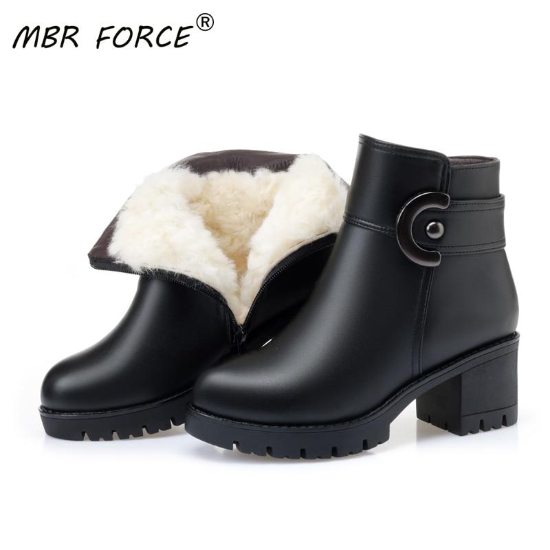MBR FORCE femme neige bottes femmes 2020 nouvelle mode femmes plate-forme laine mode femme moto bottes mère chaussures grande taille