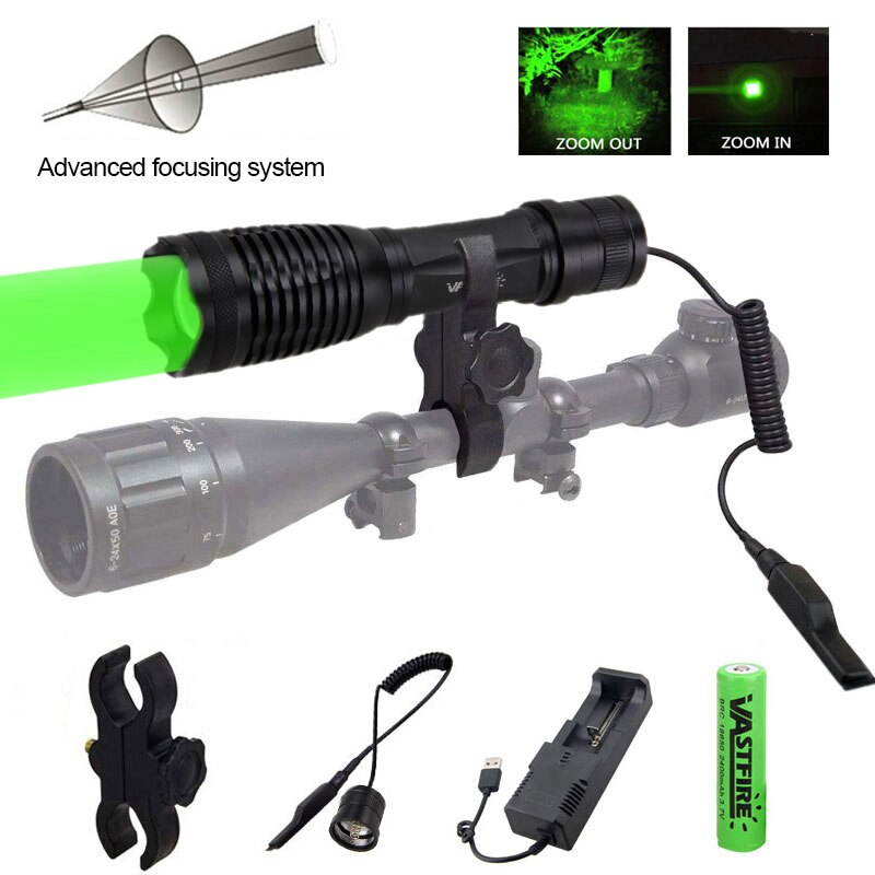 Linterna Led de 5000 lúmenes, linterna de Rifle de caza táctica con zoom verde, linterna portátil para exteriores + 18650 + cargador + interruptor + soporte Rfile