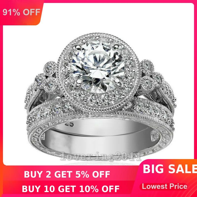 choucong Vintage Women Men Jewelry 2ct 5A Zircon Cz ring 925 Sterling silver Counple Engagement Wedding Band Ring