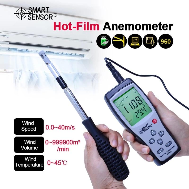 AR866A 0-30 متر/الثانية سلك ساخن الحرارية مقياس شدة الريح اختبار تدفق الهواء سرعة متر الفيلم الساخن الحرارية مقياس سرعة الرياح بالمتر مع USB