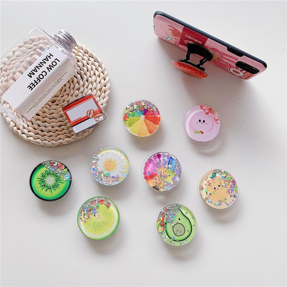 Cute Summer Fruit Soft Phone Holder Stand Flower Avocado Lemon Glitter Mobile Grip for iPhone 11 XR 7 8 Ring Holder Kawaii Girl