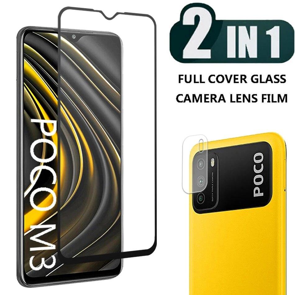 2-em-1 9d protetor de vidro temperado para xiaomi poco m3 m2 pro protetor de tela cheia com câmera len filme para xiao mi poco m2pro