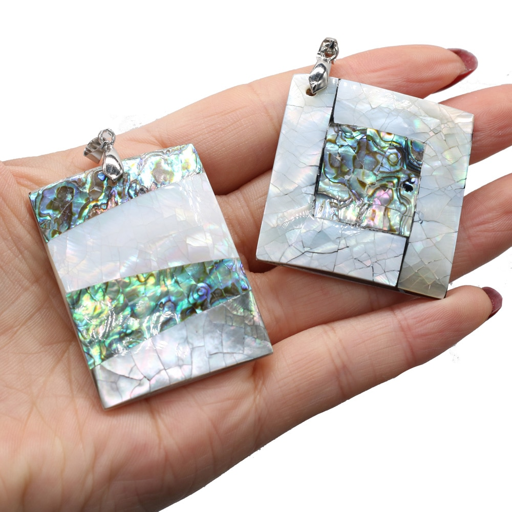Natural Shell Rectangle Pendant Trendy Retro Abalone Shells Charms for Women Men Jewelry Making DIY Necklace Accessories Gift  - buy with discount