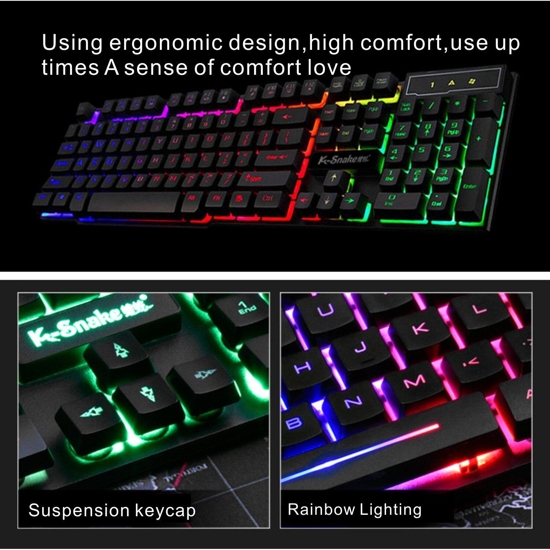 الألعاب لوحة المفاتيح ألعاب USB السلكية RGB الخلفية لوحة المفاتيح LED 104 مفاتيح قوس قزح للماء الوسائط المتعددة غرار Keycap ل جهاز كمبيوتر شخصي PS4 Xbox