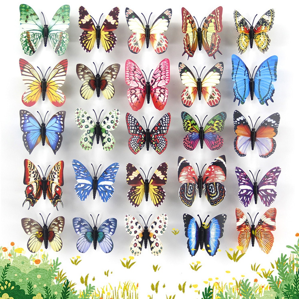 25Pcs Butterfly Decor Colorful Whimsical Luminous Simulation Stakes Flower Pots Garden Outdoor Patio Yard Decoration