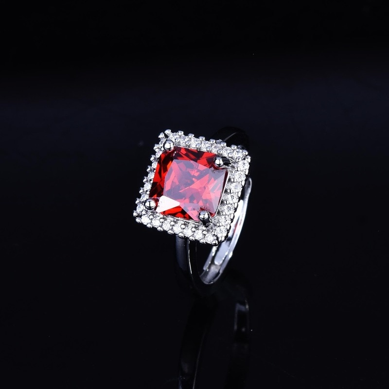 Women's Fashion 925 Silver Red Zircon Open Ring Engagement Wedding Party Gift Jewelry Ring Wholesale luxury women s crystal zircon ring red green gem ring round ring valentine s day gift cocktail party jewelry engagement ring
