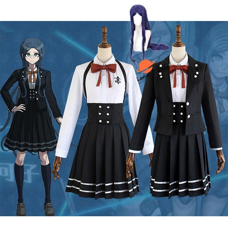 Anime Danganronpa V3 Shirogane Tsumugi Cosplay disfraz peluca abrigo + camisa +...