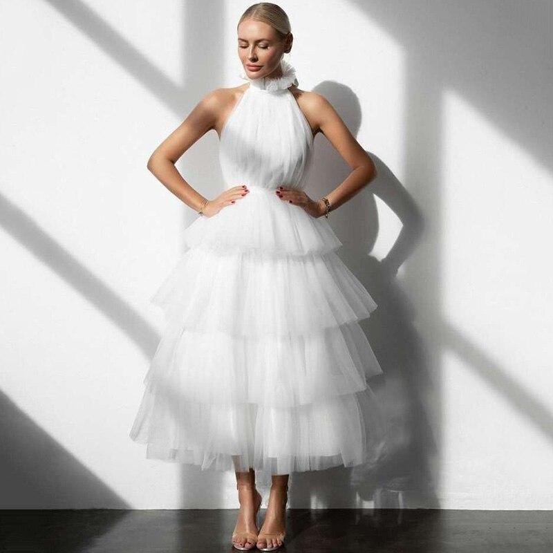 Eightree فساتين زفاف قصيرة بيضاء طبقات تنورة Vestido de Noiva Curto 2021 فستان عروس تول رقبة عالية طول الشاي زفاف Gow