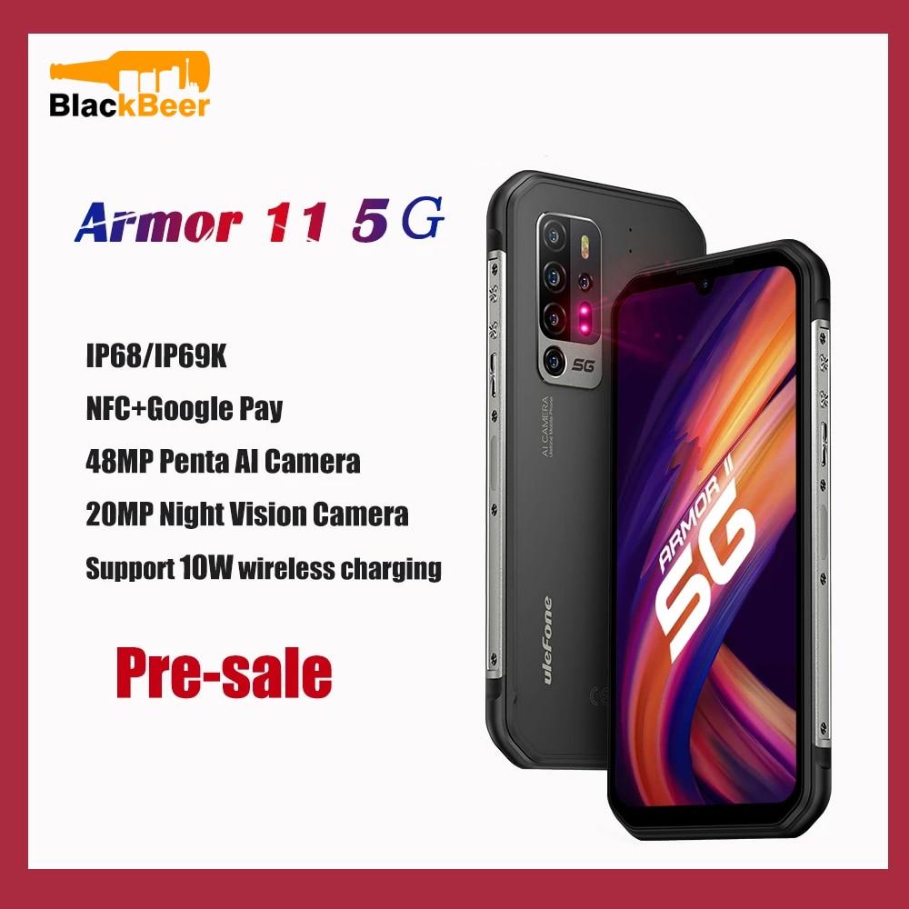 Перейти на Алиэкспресс и купить Ulefone Armor 11 5G прочный мобильный телефон IP68 водонепроницаемый смартфон Android 10 8 ГБ + 256 Гб мобильный телефон 20MP IR ночное видение 5200 мАч