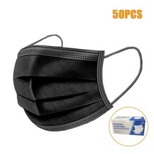 50pcs Black Good Quality Disposable 3-ply Breathable Face Ma Sk For Lips Care Ear Loops Disposable T