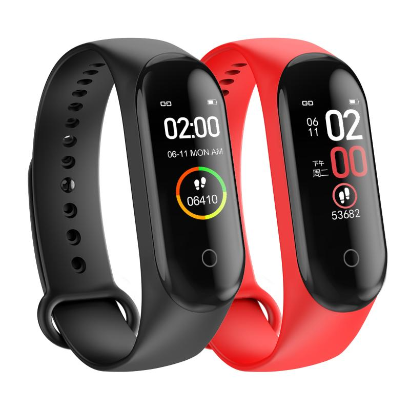 M4 Smart Watch Women Men Sports Smart Bracelet IP67 Waterproof Watch Pedometer Heart Rate Monitor LED Color Screen For Android