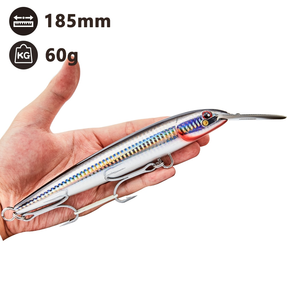 NOEBY nbl9904 Countdown Magnum Hard Body Lure Big Minnow tuna fishing bait 130 185 225mm stainless steel lip lure for seabass enlarge