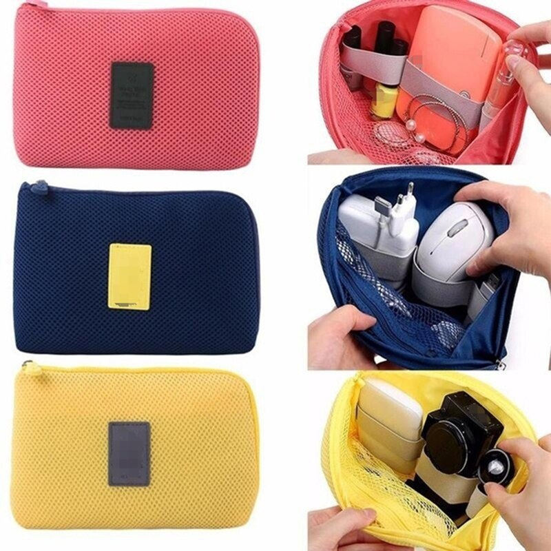 Shockproof Digital Products USB Cable Storage Bag Portable Charger Earphone Net Bag Mobile Power Sto