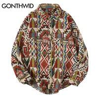 Трикотажные рубашки GONTHWID в национальном стиле с геометрическим узором, на пуговицах, повседневные топы с длинным рукавом в стиле Харадзюку,...