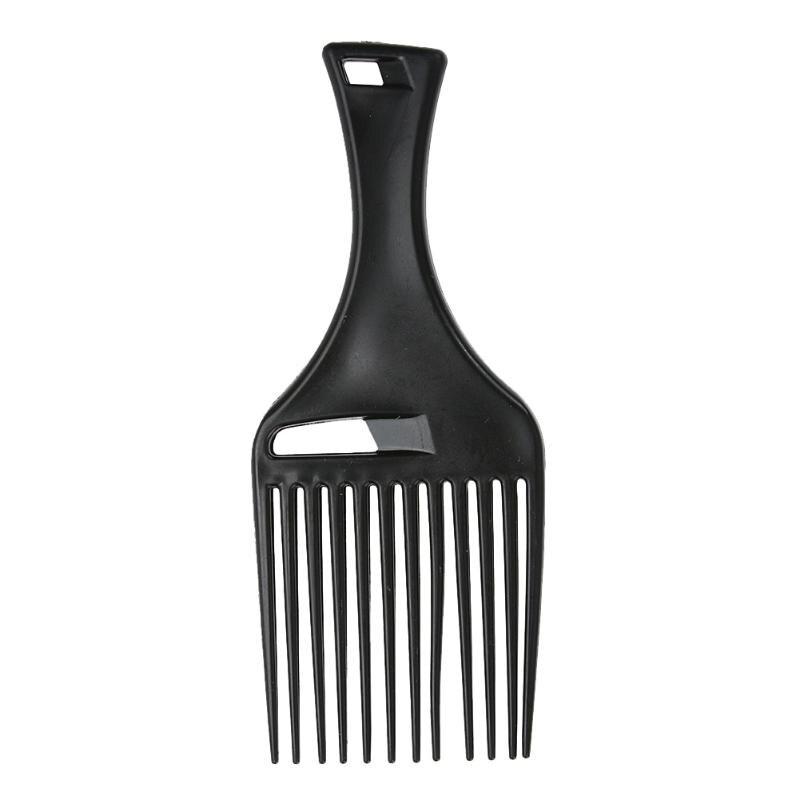 Afro tenedor insertar pelo cepillo para pelo rizado peine cepillo de pelo que labra la herramienta (negro)