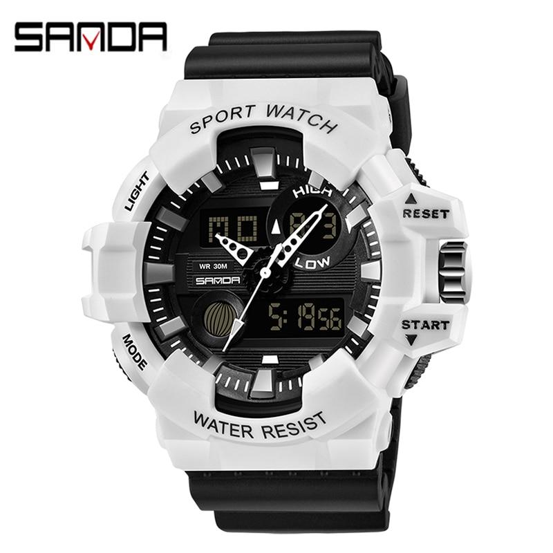 SANDA Sport Watches Analog Led Backlight Men Quartz Wirstwatch Relogio Military Army White Black Waterproof Digital Watch