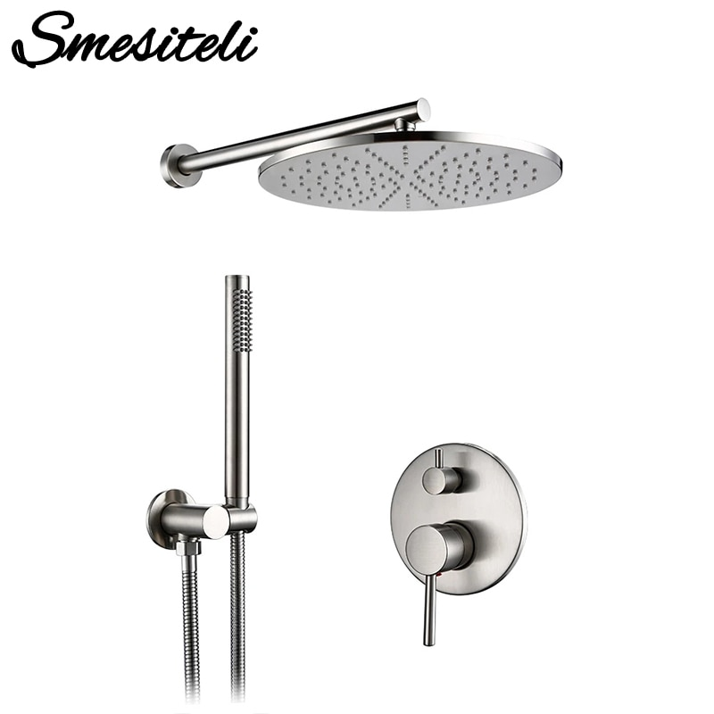 Brushed Stainless Steel Brass Built Installation Rain Shower Head Hand Sprayer Two-Function Hot Cold Mixing Bathroom Faucet