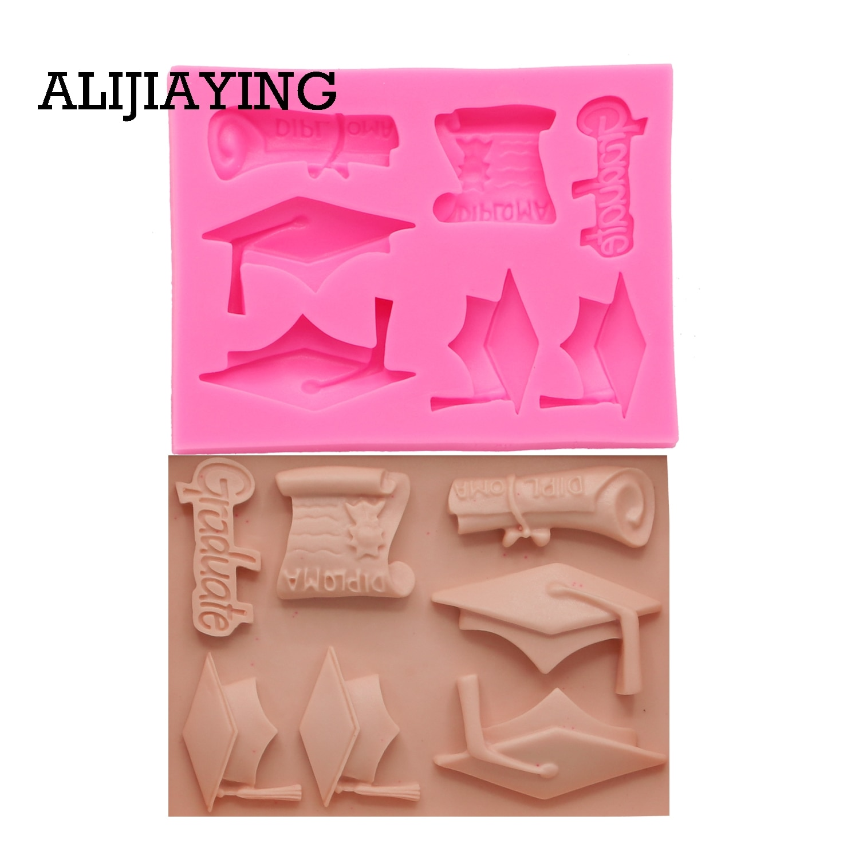 M1415 molde de silicone para doutorado, artesanato de açúcar, ferramenta de decoração de bolo, fondant, chocolate, argila, moldes de resina