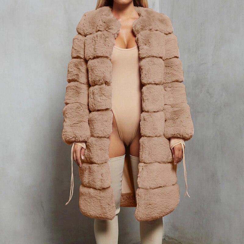 2021 Hot Sale Warm Winter Overcoat Fashion Fox Fur Coat Large Size Women's Faux Fur Coat Women Pink Black 4XL