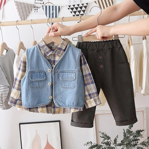 Clothes for Boy Girls Outfits 2021 New Vest + Plaid + Pants Fashion Cotton Toddler Baby Clothes Set 1 2 3 4 Year
