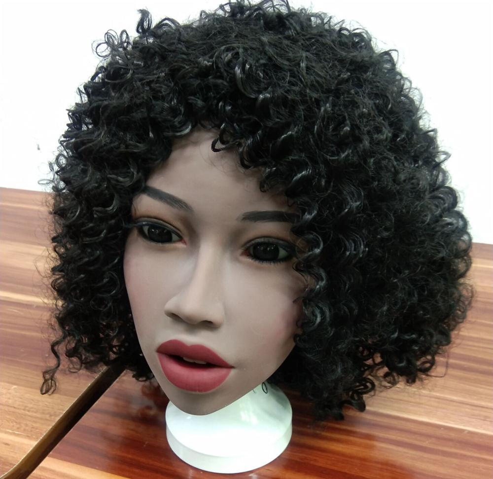 Nuevo africano negro piel muñeca sexual cabeza Real Oral muñeca sexual totalmente de silicona cabeza para adultos amor muñeca cabezas
