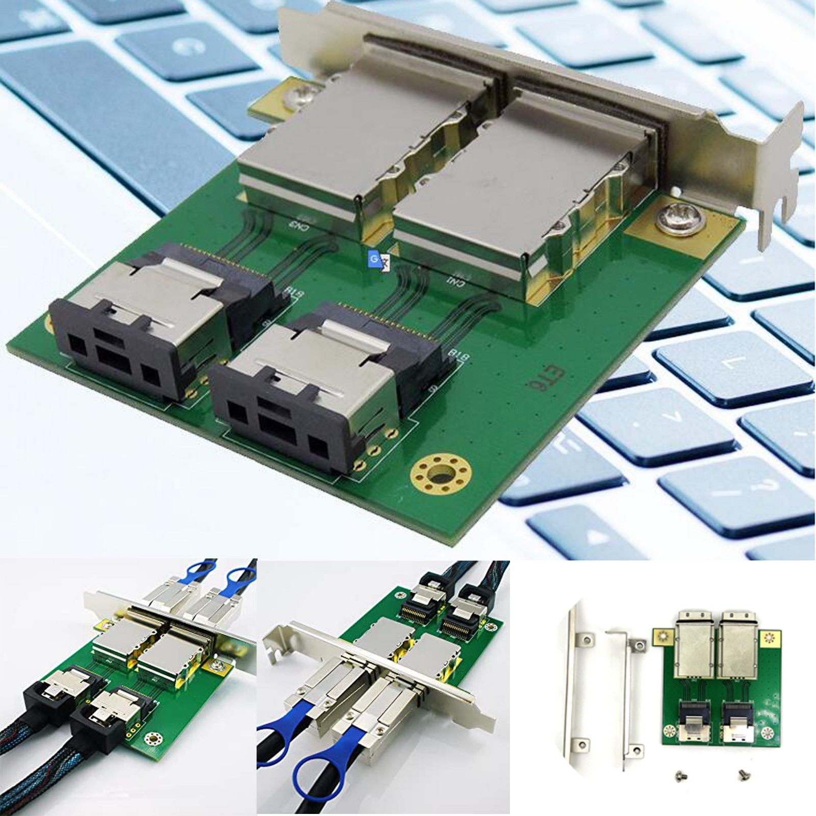 2 portas mini sas para interno SFF-8087 para externo 8088 pci-mini sas-26p adaptador raid cabo painel frontal pci sas cartão