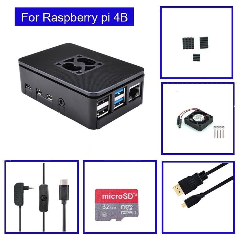 raspberry pi 4 model b acrylic case with cooling fan 32gb sd card 5v 3a power heatsink hdmi for raspberry pi 4b Raspberry Pi 4 Model B ABS Case with Fan + Heatsink +32GB SD Card+ 5V 3A power+ for Raspberry Pi 4B