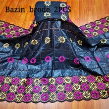 Africain bazin riche tissu avec brode dernière mode broderie dentelle bazin dentelle tissu avec net dentelle 7 yards pour robe y68-60
