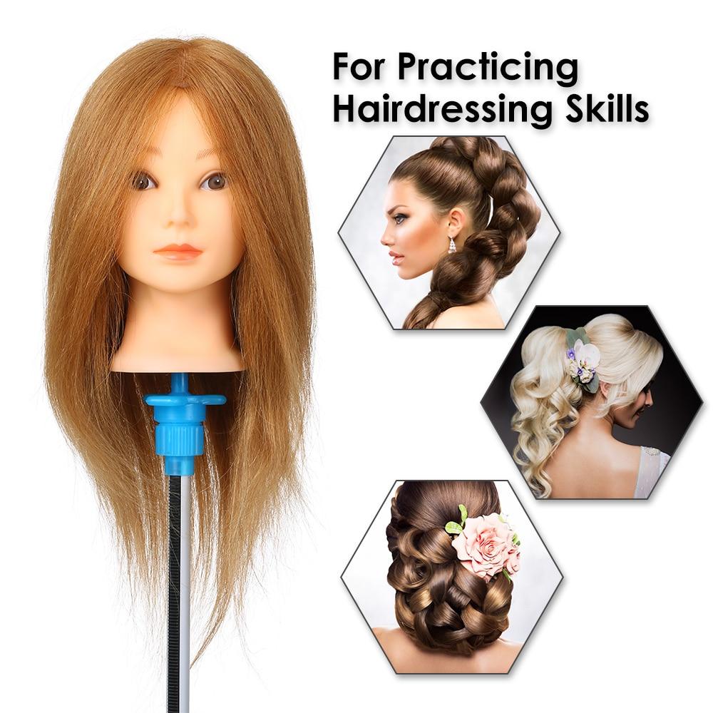 Cabeza de entrenamiento práctica de pelo humano de 100% cabeza de Maniquí de pelo Real práctica cabeza de maniquí formación en cosmética maniquí herramienta de salón de cabeza