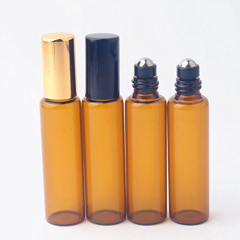50pcs/lot 10ml Amber Roll-on Glass Bottle Aluminum Roller Ball Perfume Bottle Empty Roll On Sample Travel Bottle Gold Black Lid
