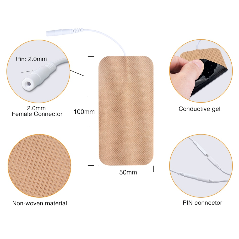 FDA (5*10cm/2mm pin)cleared HealthmateForever massage electrode pads self adhesive conductive water activated,no gel needed
