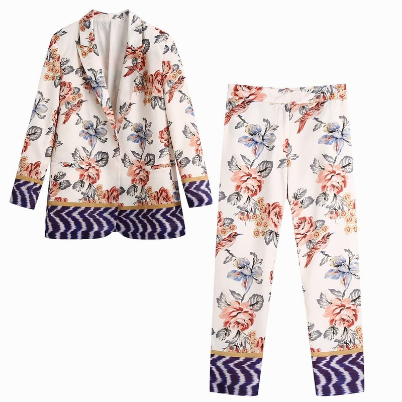 Women Floral Blazer Spring Autumn 2021 New Clothing Loose Outerwear  Modern Lady Casual Suit Sets