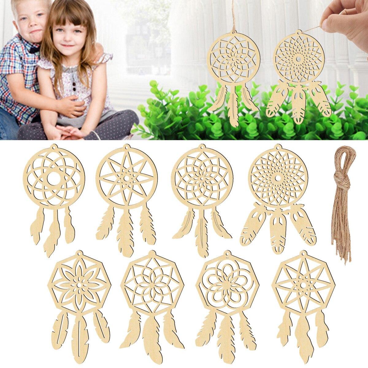 Atrapasueños de madera para decoración de habitaciones de niñas, accesorio nórdico para...