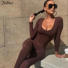 Nibber-mono básico Bodycon para mujer, ropa informal de Fitness marrón, pelele Y2K, ropa de calle de actividad, monos 2021