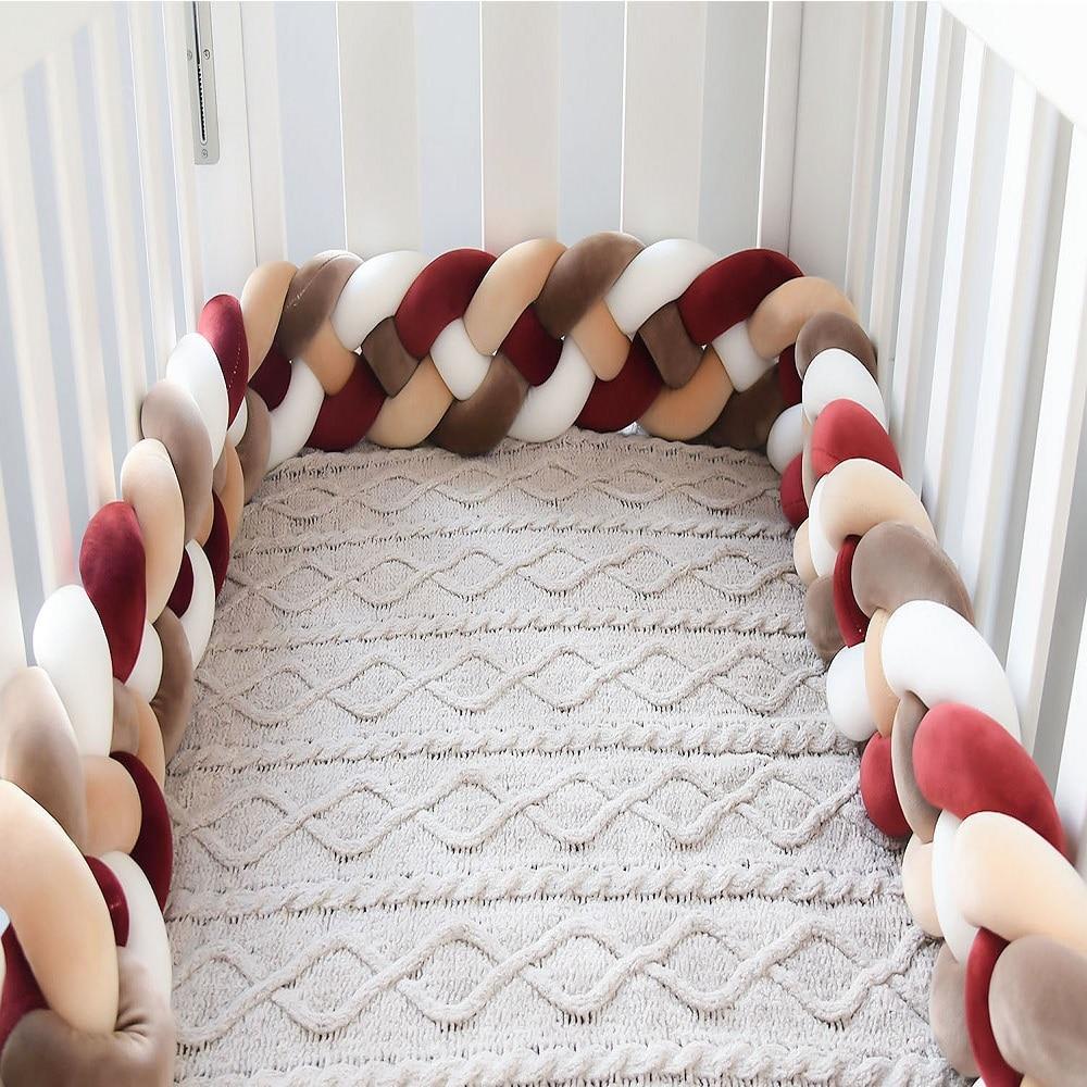 2M/3M Baby Bed Bumper Tour De Lit Bebe Newborn Crib Bumper 4 Braided Knot  Baby Crib Bedding Set Bumper Protector enlarge